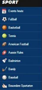 Angebot an Sporttwetten bon 10Bet