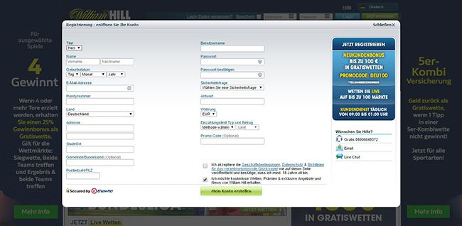 DE William Hill Registrierung 2.1