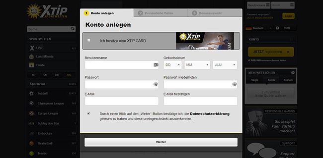 DE Xtip Registrierung 2.1