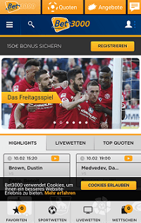 Screenshot Bet3000 App