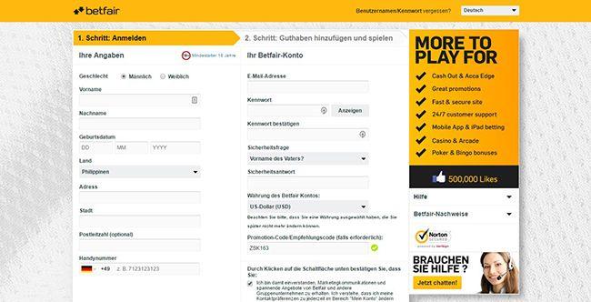 DE Betfair Registrierung 2.1