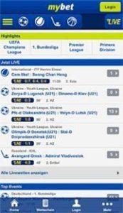 Screenshot der Mybet App