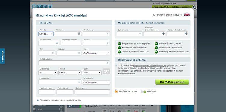 DE Jaxx Registrierung 2.1