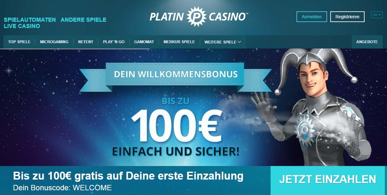 Platin Casino Bonus Seite