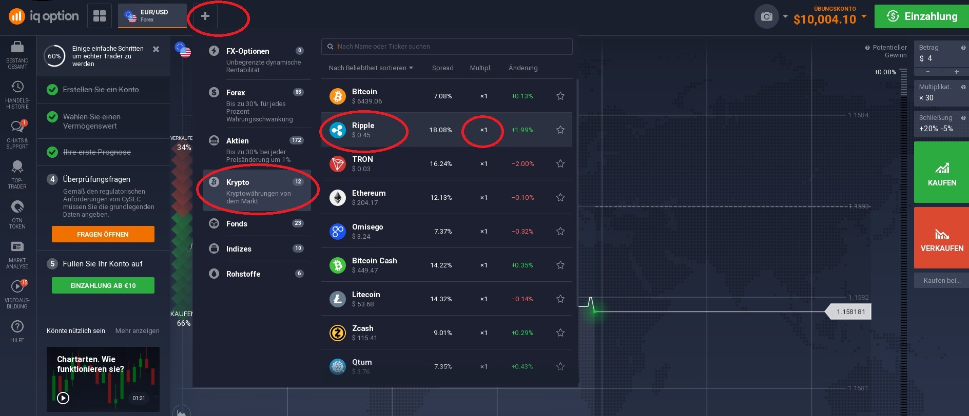 Ripple (XRP) kaufen: IQ Option Handelsplattform