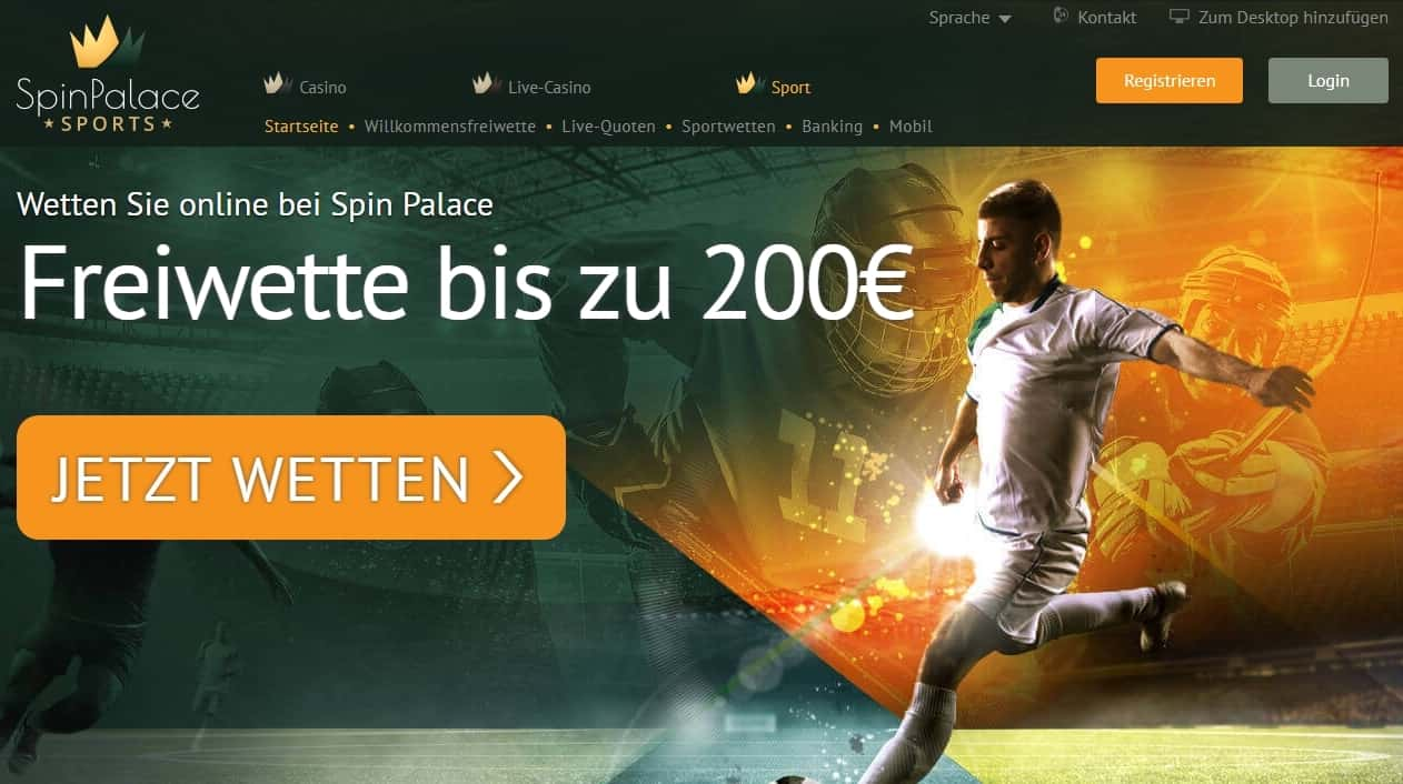 Spin Palace Sports Bonus Seite