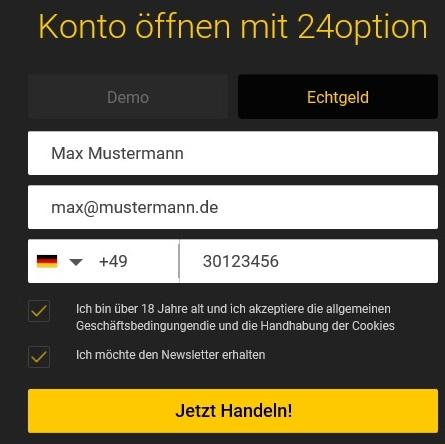 Bitcoin kaufen: Anmelden bei 24Option