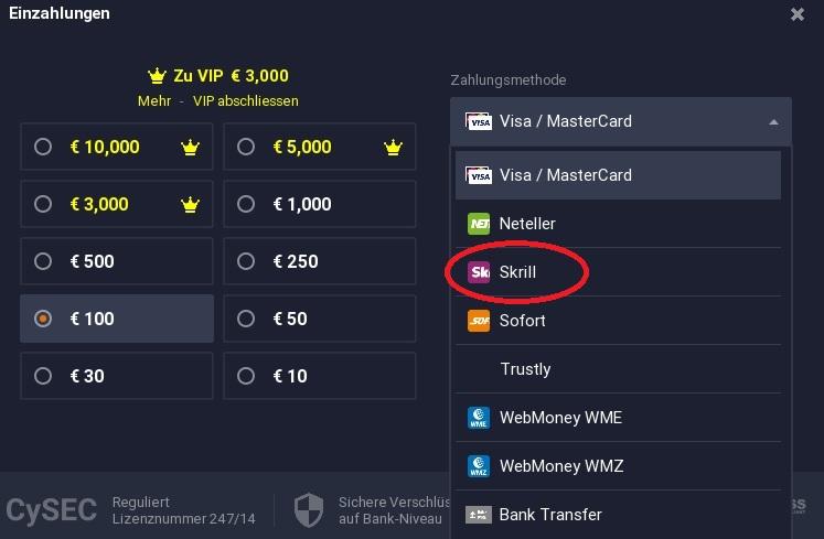 Kryptowährungen kaufen mit Skrill bei 24Option