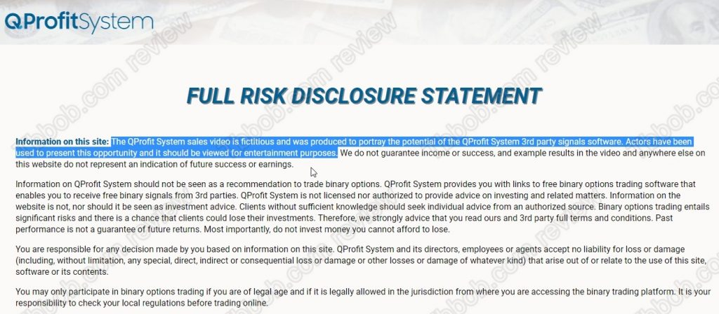 qprofit system disclaimer