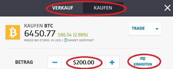 Bitcoin kaufen: Das eToro Orderticket