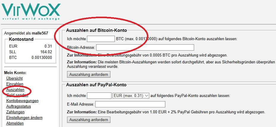 Bitcoins kaufen und auszahlen lassen