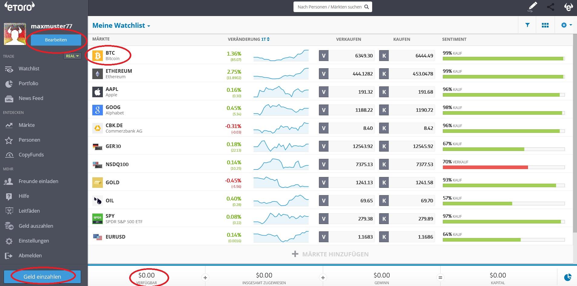 Bitcoins kaufen bei eToro: So sieht das Konto aus