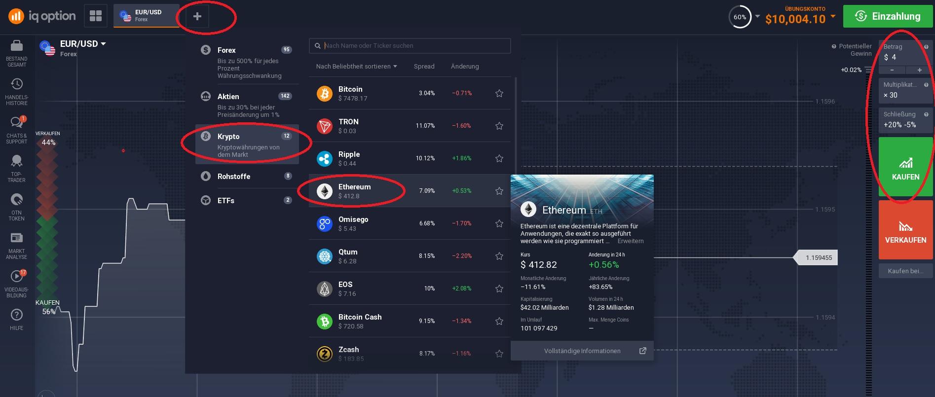 Kryptowährungen kaufen bei IQ Option mit Handelsplattform