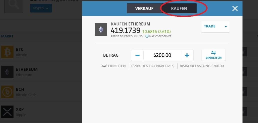 Kryptowährungen kaufen bei eToro