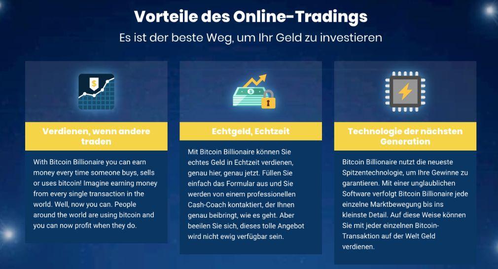 Bitcoin Billionaire Vorteile des Online Tradings