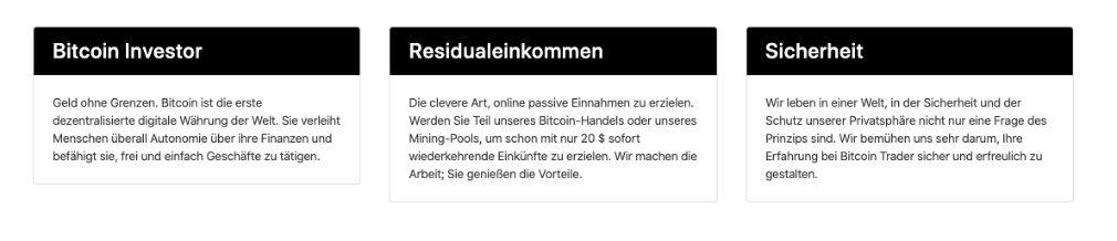 Bitcoin Investor Merkmale